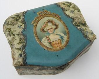 Antique Victorian Celluloid Vanity Table Dresser Jewelry Trinket Casket Box