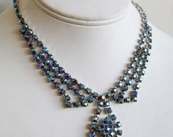 Vintage 50s Iridescent Blue Faceted Glass Aurora Borealis Rhinestone Designer Hollywood Starlet Necklace