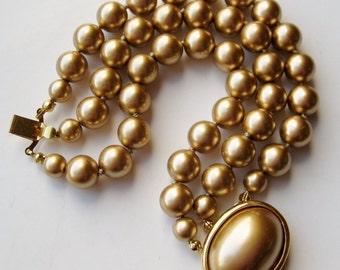 Vintage 50s Designer Carolee Glamour Girl Golden Pearl Triple Strand Bracelet