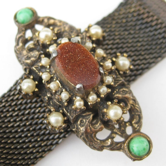 Vintage 50s 60s Gold Mesh Designer Florenza Baroque Pearl Adjustable Bracelet
