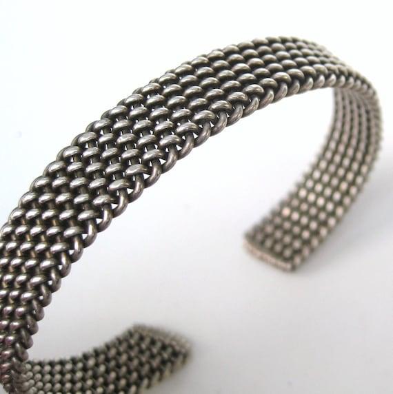 Vintage Sterling Silver Industrialist Woven Mesh Cuff Bracelet