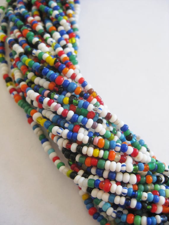 Vintage Multi Color Bead Exotic Multi Strand Beaded Ethnic Bohemian Tribal Necklace