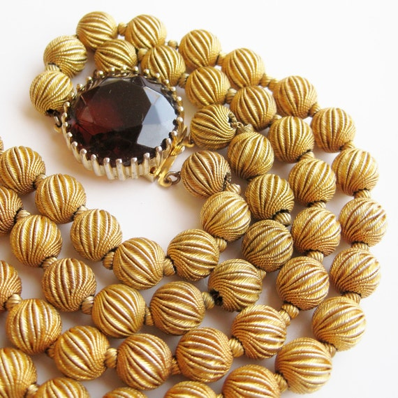 Reserved - Vintage 50s Gold Metal Filigree Bead Double Strand Glamour Girl Necklace Faceted Topaz Clasp