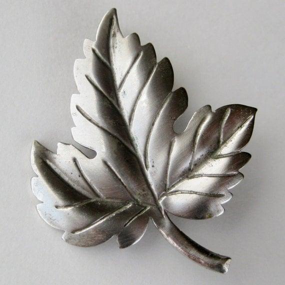 Vintage 50s Tiffany & Company Sterling Silver Designer Leaf Brooch Pin