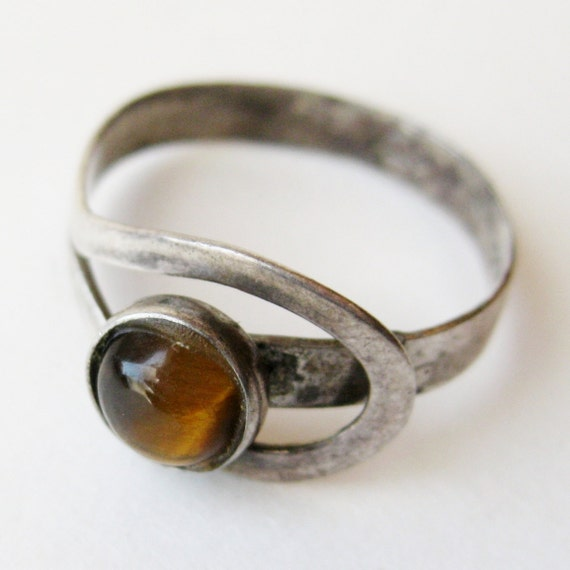 Vintage 50s Sterling Silver Mid Century Modernist Studio Jewelry Mexican Taxco Tigereye Ring