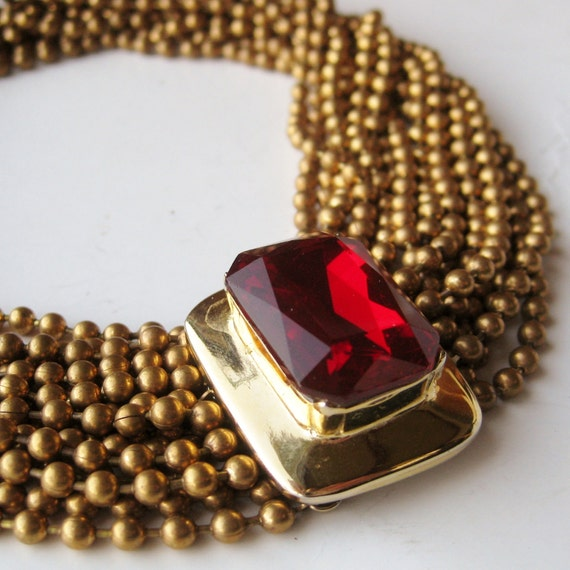 Vintage Designer CADORO Jeweled Red Ruby Multi Strand Chain Choker Runway Necklace Statement Piece