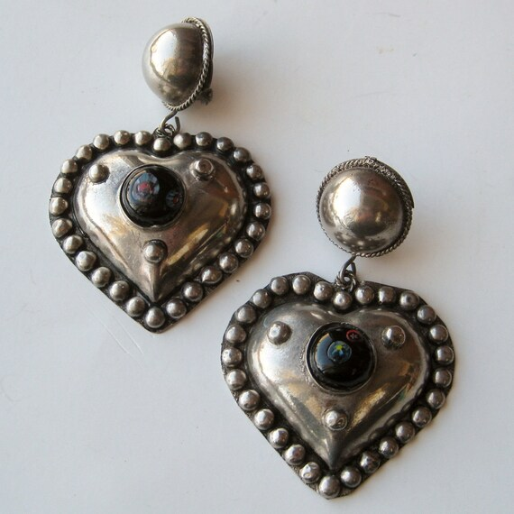 Vintage 50s Large Silver Heart Bohemian Art Glass Clip Dangle Earrings