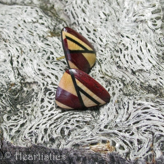 Shattered - Maple, Purpleheart and Ebony-Wooden post earrings in a soft triangle shape