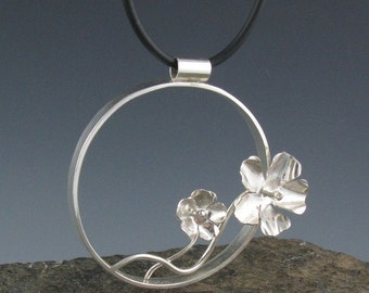 Sterling Silver Circular Flower Pendant Necklace-Handmade