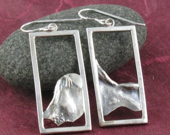 SALE 1/2 off Terra Rectangular Reticulated Sterling Silver Earrings