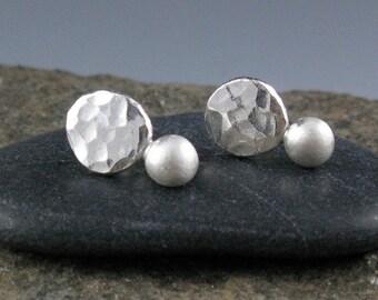 Tidal Pebble Stud Earrings-Handmade, Sterling Silver