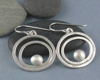 Sterling Silver Tidal Circles Earrings-Handmade
