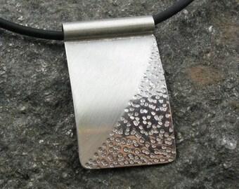 "Zen Silver Textured Rectangular Pendant on Rubber Cord, ""Rectangular Zen Sand Pendant"""
