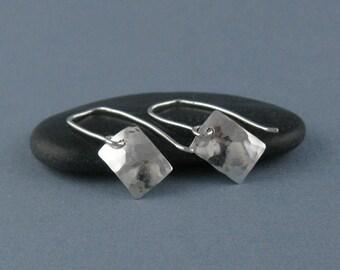 Petite Sterling Silver Hammered Rectangle Earrings-Handmade