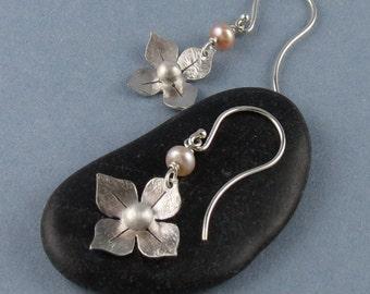 Sterling Silver Flower Earrings with Pink Freshwater Pearl-Handmade