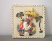 Mexican Chalkware Plaque by Art Pub Co Kitchen Wall Decor