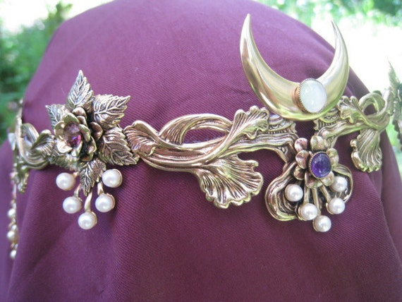 Floral Pearl Amethyst Crescent Moon Circlet Headpiece Crown