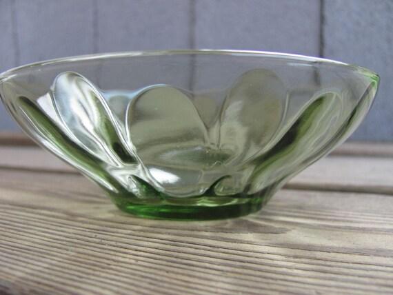 Avocado Green Crystal Bowl. Vintage.
