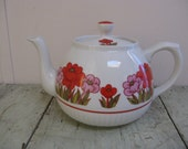 ironstone teapot english ellgreave division of wood and sons pink and orange flowers