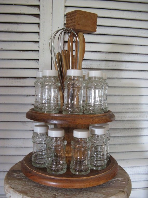 Reserved For Kit Oak 2 Tiered Lazy Susan Spice Rack 17