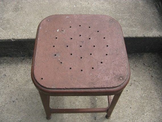 industrial painted  metal stool 18 1/2 inches high 14 inch wide seat