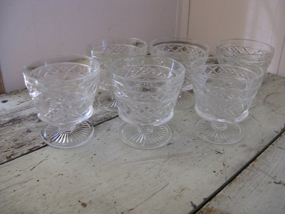 hazel atlas big top peanut butter footed sherbet glasses set of 6 pressed diamond pattern