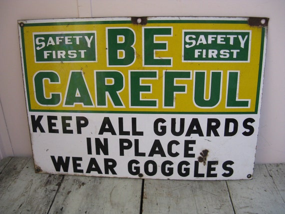 industrial sign porcelain over metal factory safety  14 inches by 20 inches industrial chic