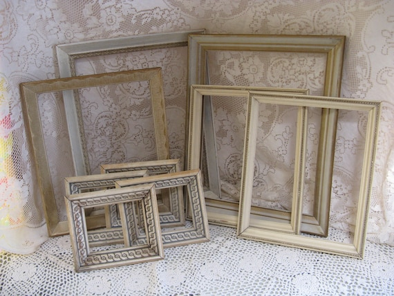 shabby wooden frame set 9 pieces for weddings cottage decor cream gold accents
