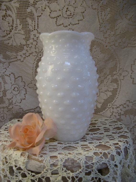 milkglassvase hobnail design  weddings garden parties shabby cottage