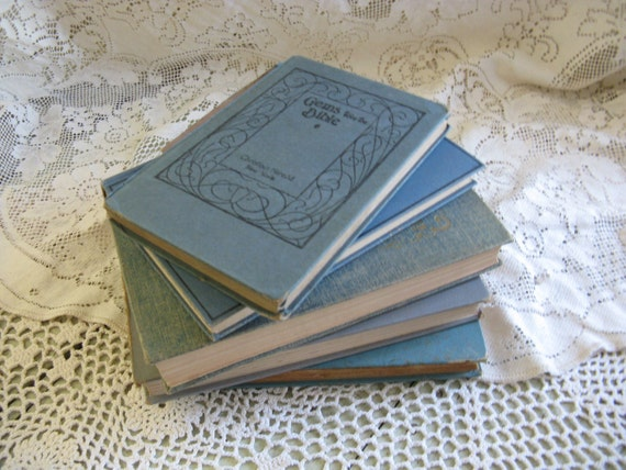 vintage book collection blue book group of 5 weddings beach gothic photo props home decor pottery barn style