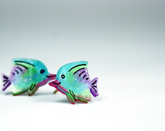 Small Tropical Fish Hypoallergenic Earrings