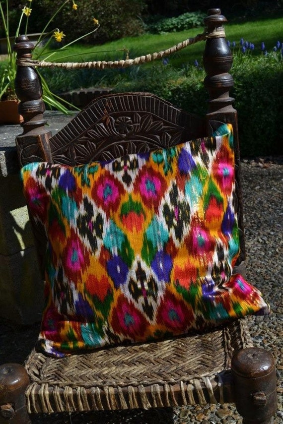 Ethnic Uzbek Ikat Silk handwoven cushion cover Multicolor