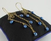 Earrings Royal Blue Pearls, Gold-Filled Chain, Vermeil Chandelier Findings, Dramatic