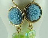 Earrings, Dangling, Under Ten Dollars, Pale Green Leaves, Robin Blue Resin Mums, Bezel Set, Gold Plated Bezel and Earhooks