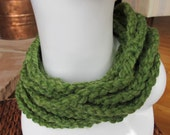 Neckwarmer Cowl of Crocheted Chains Grass Green Rope Necklace 28 Inch Circumference