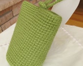 Wristlet, Crocheted and Felted, 100% Wool, Leaf Green