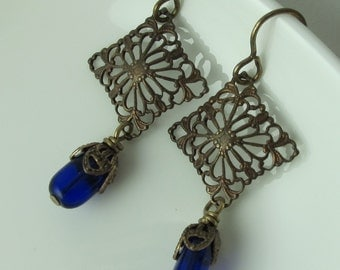 Earrings, Deep Cobalt Blue Vintage Glass Drop, Vintaj Brass Filigree, Dangle French Hook Earwires