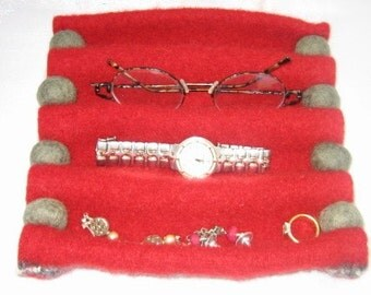 Felted Jewelry Tray Bowl Container Recycled Wool Sweater Accordion Folded Handcrafted Red