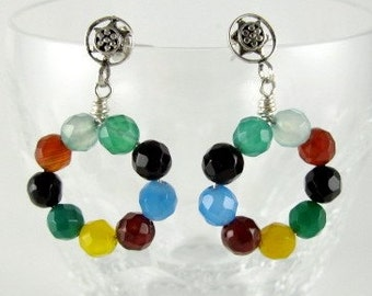 Earrings, Circle of Multi-Colored Agates Dangle from Sterling Silver Granulated Posts
