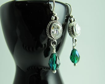 Swarovski Emerald Teardrop Dangles from Bezel Mounted Crystal Quartz Sterling Silver Ear Wires, May Birthday