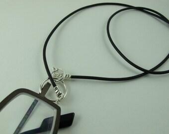 Eyeglasses Holder, LoopM, Sterling Silver Loop, Clasp, Crimps on Greek Leather Neck Cord, Readers Keepers in Black 24 in.
