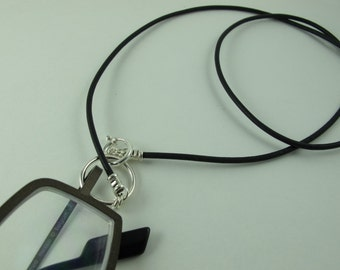 Glasses Holder/Keeper Necklace, Sterling Silver Loop, Clasp, Crimps, on Greek Leather Cord, Black 23 in.