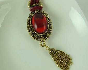 Bold Red Necklace, Vintage German Glass13X18 mm Red Cabochon, Mounted on Vintage Gold Plated Brass Pendant with Tassel