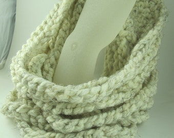 Neckwarmer Cowl of Crocheted Chains Ivory Rope Necklace 28 Inch Circumference