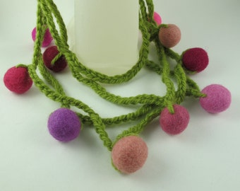 CROCHETED NECKLACE Adorned with Felt Balls, Graduated Opera Length, Acrylic and Wool, Leaf Green, Reds, Purples and Pinks