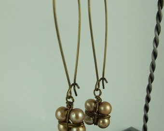 Earrings, Champagne Pearls Wire Wrapped, Japanese Style Bundle, Long Kidney Earwires, Brass