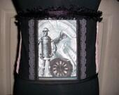 Steampunk Saloon Girl Robot and Clocks Underbust Corset Waist Cincher S-M