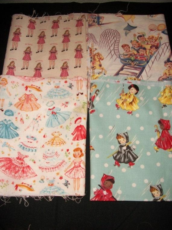 Retro children print fabric lot for Retro childrens fabric