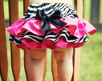 Zebra and Hot Pink Pink Ruffle Bloomers