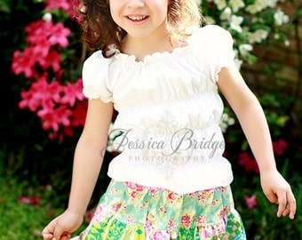 White Shirred Peasant Top Size 12-18 Months- Size 8